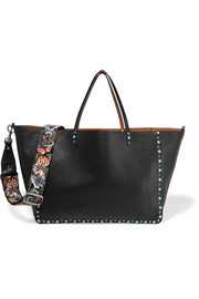 The Rocksud reversible embellished textured-leather shoulder bag