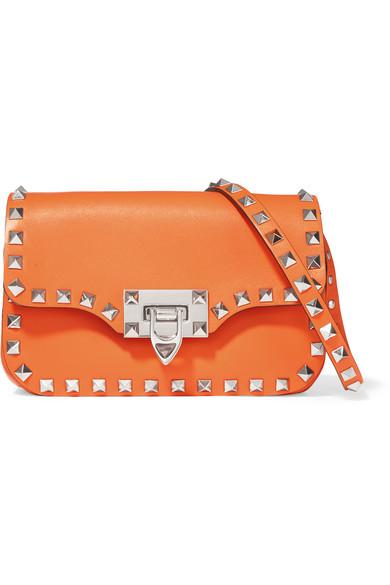 Valentino - The Rockstud Leather Shoulder Bag - Orange