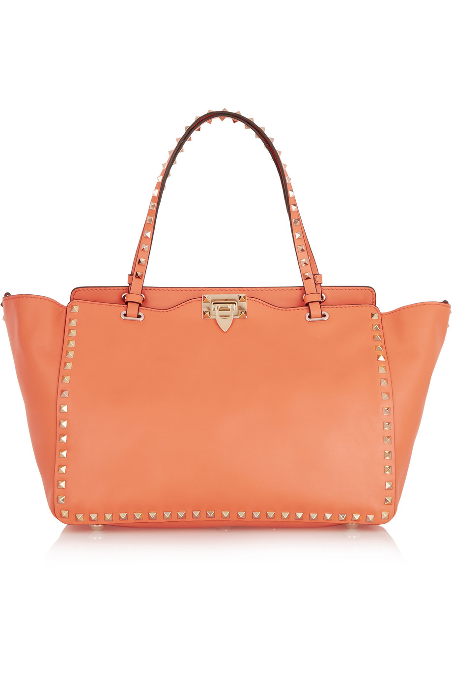 Valentino The Rockstud Medium Leather Tote, Orange, Women's