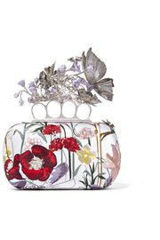 Knuckle embroidered satin box clutch