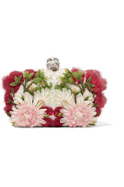 Skull floral-appliquéd tulle and satin box clutch