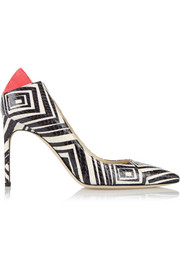 Brian Atwood Mercury suede-trimmed printed elaphe pumps