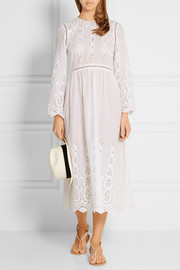 Ticking broderie anglaise cotton dress