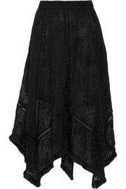 Henna fringed embroidered silk skirt