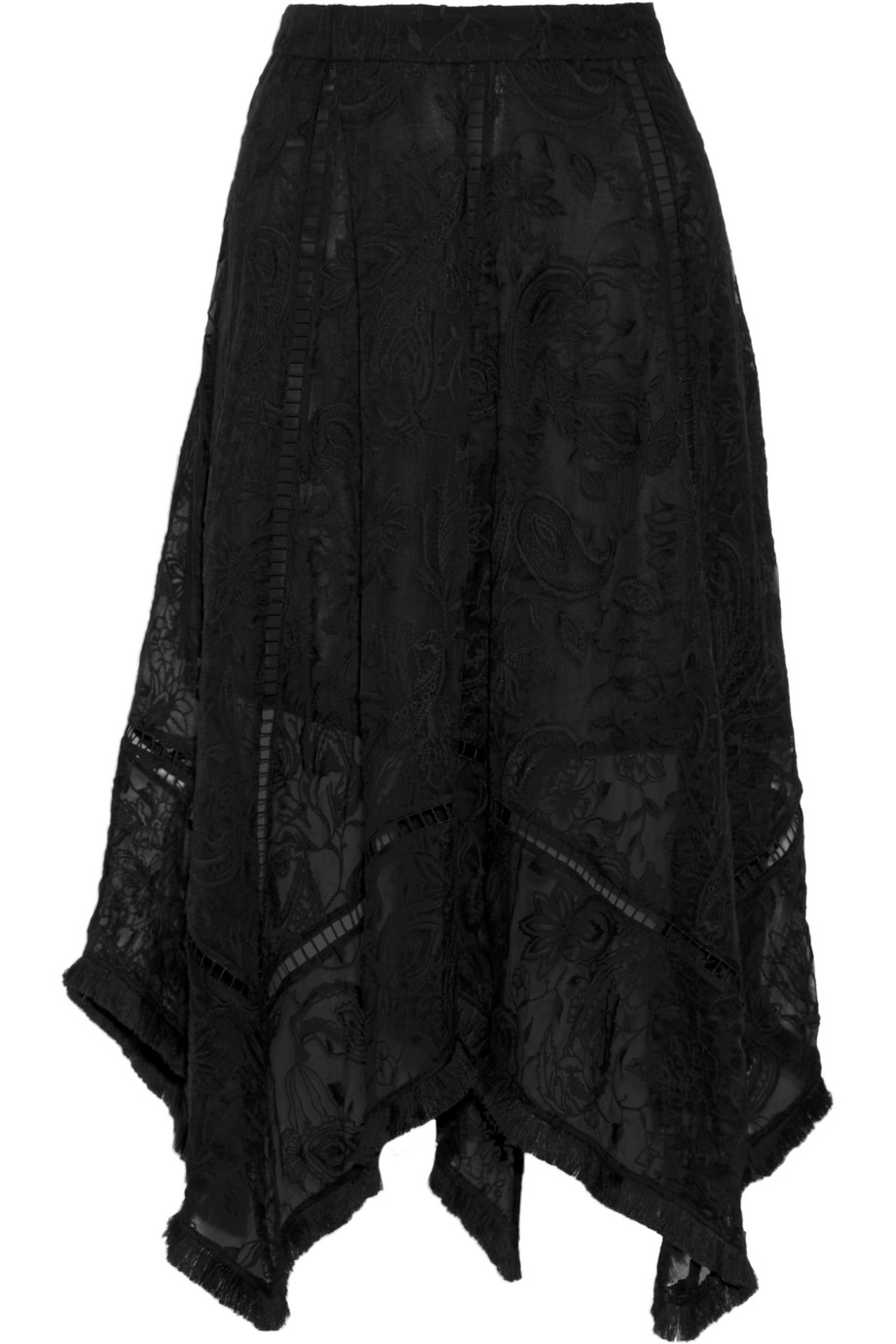 Zimmermann Henna Fringed Embroidered Silk Skirt, Black, Women's, Size: 1
