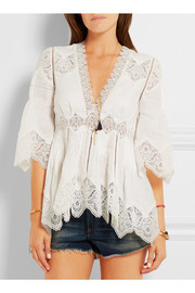 Zimmermann Lace-paneled linen tunic