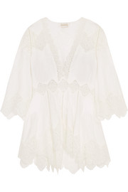 Lace-paneled linen tunic