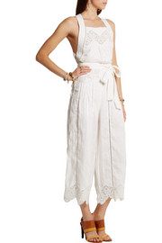 Zimmermann Empire Virtue guipure lace-paneled linen jumpsuit