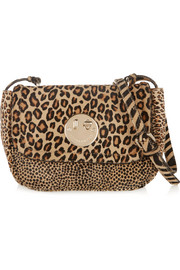 Happy mini animal-print calf hair shoulder bag