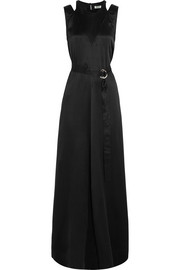 Belted silk-satin maxi dress