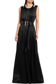KENZO Belted silk-satin maxi dress
