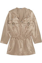 Hooded satin-poplin blouse