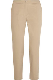 Cropped stretch-cotton twill straight-leg pants