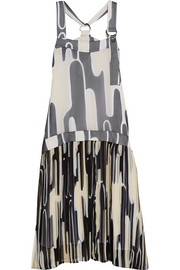 Printed plissé-chiffon dress