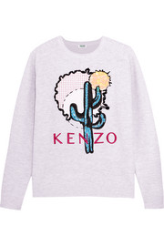 Embellished embroidered cotton-piqué sweatshirt