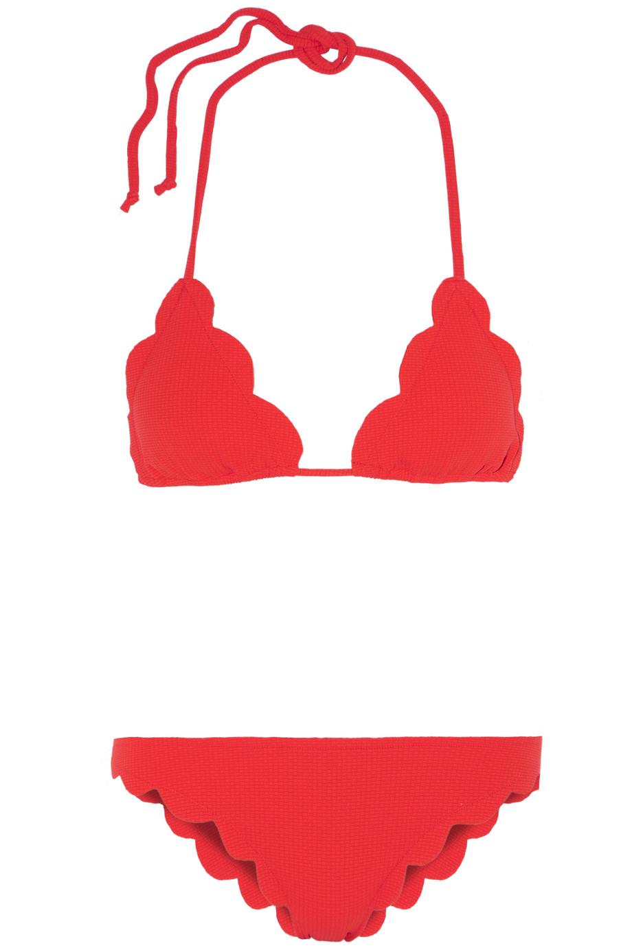 Marysia Broadway Scalloped Triangle Bikini, Red, Women's, Size: XS