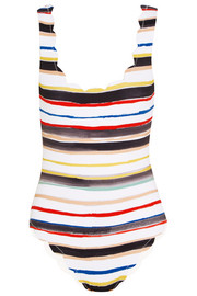 Palm Springs scalloped striped swimsuit