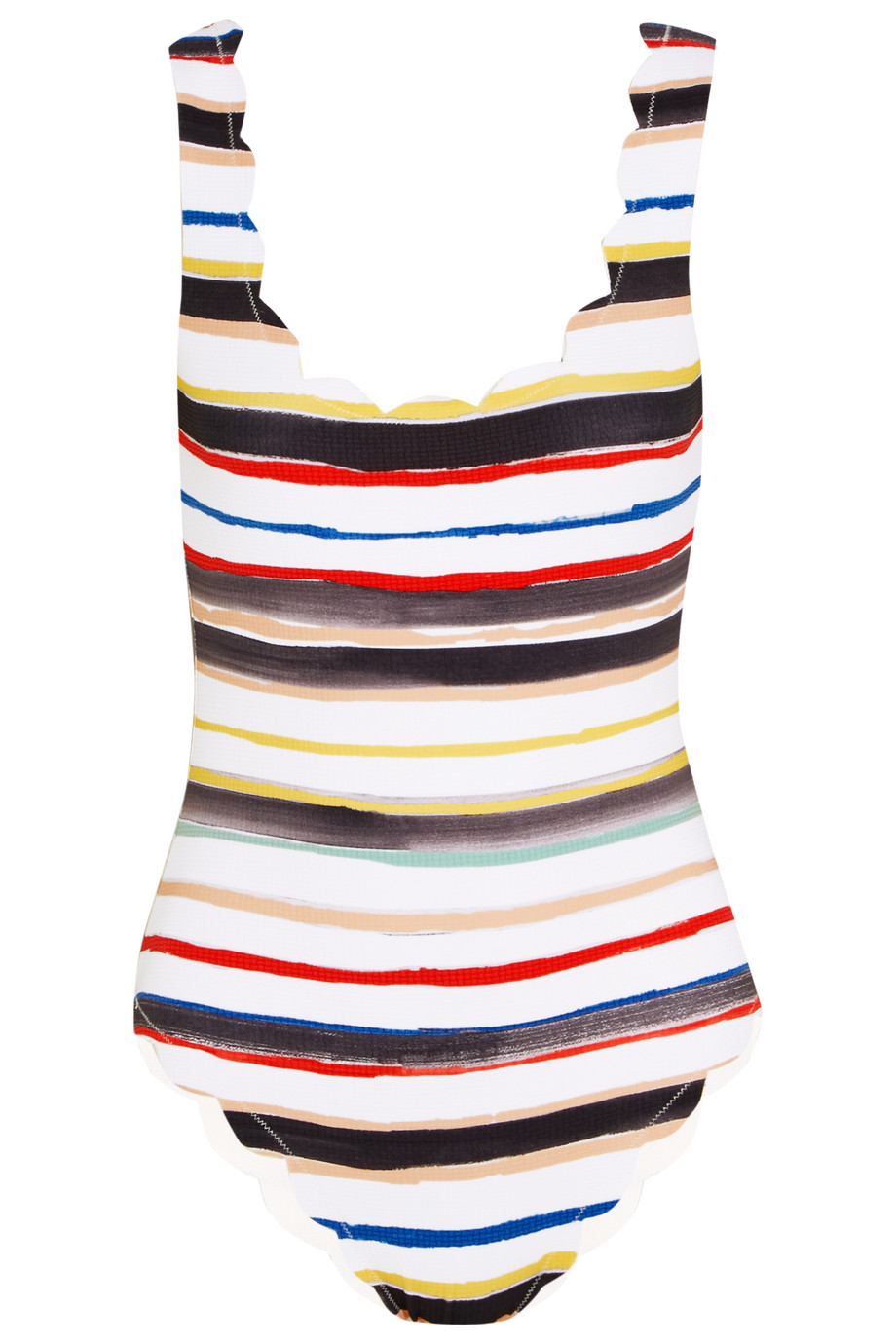 Marysia Palm Springs Scalloped Striped Swimsuit, Off-White, Women's