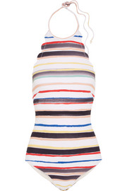 Mott scalloped striped halterneck swimsuit