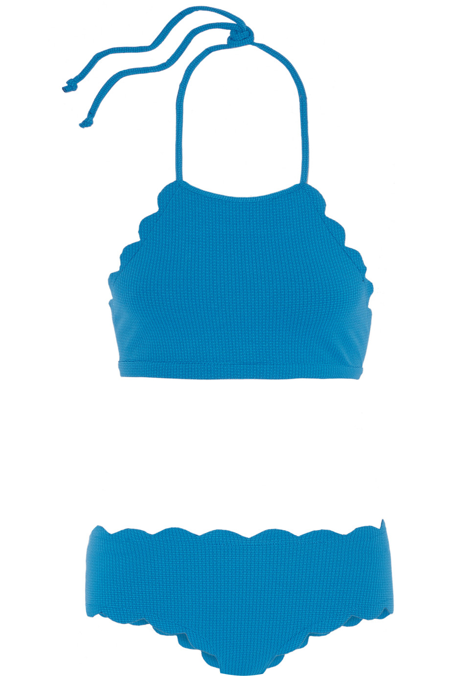 Marysia Mott Scalloped Halterneck Bikini, Bright Blue, Women's, Size: L
