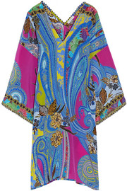 Lace-trimmed printed silk crepe de chine tunic