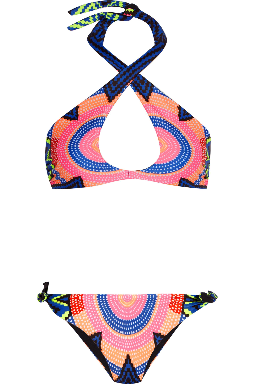 Mara Hoffman Wendbarer Neckholder-Bikini mit Print