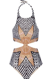 Cutout printed halterneck swimsuit