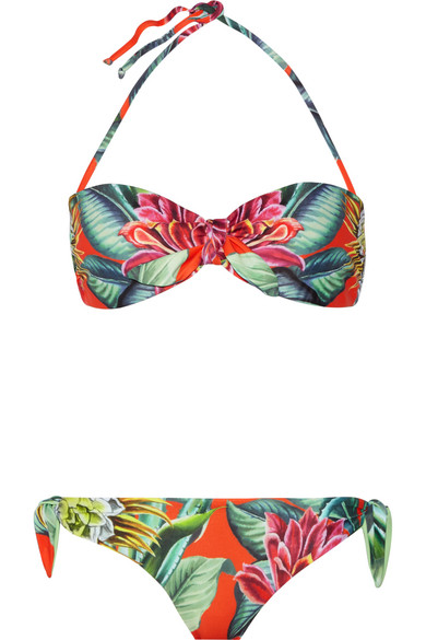 Printed bandeau bikini