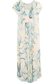Off-the-shoulder printed crinkled-voile kaftan