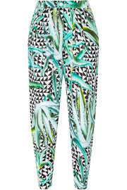 Printed crinkled-crepe pants