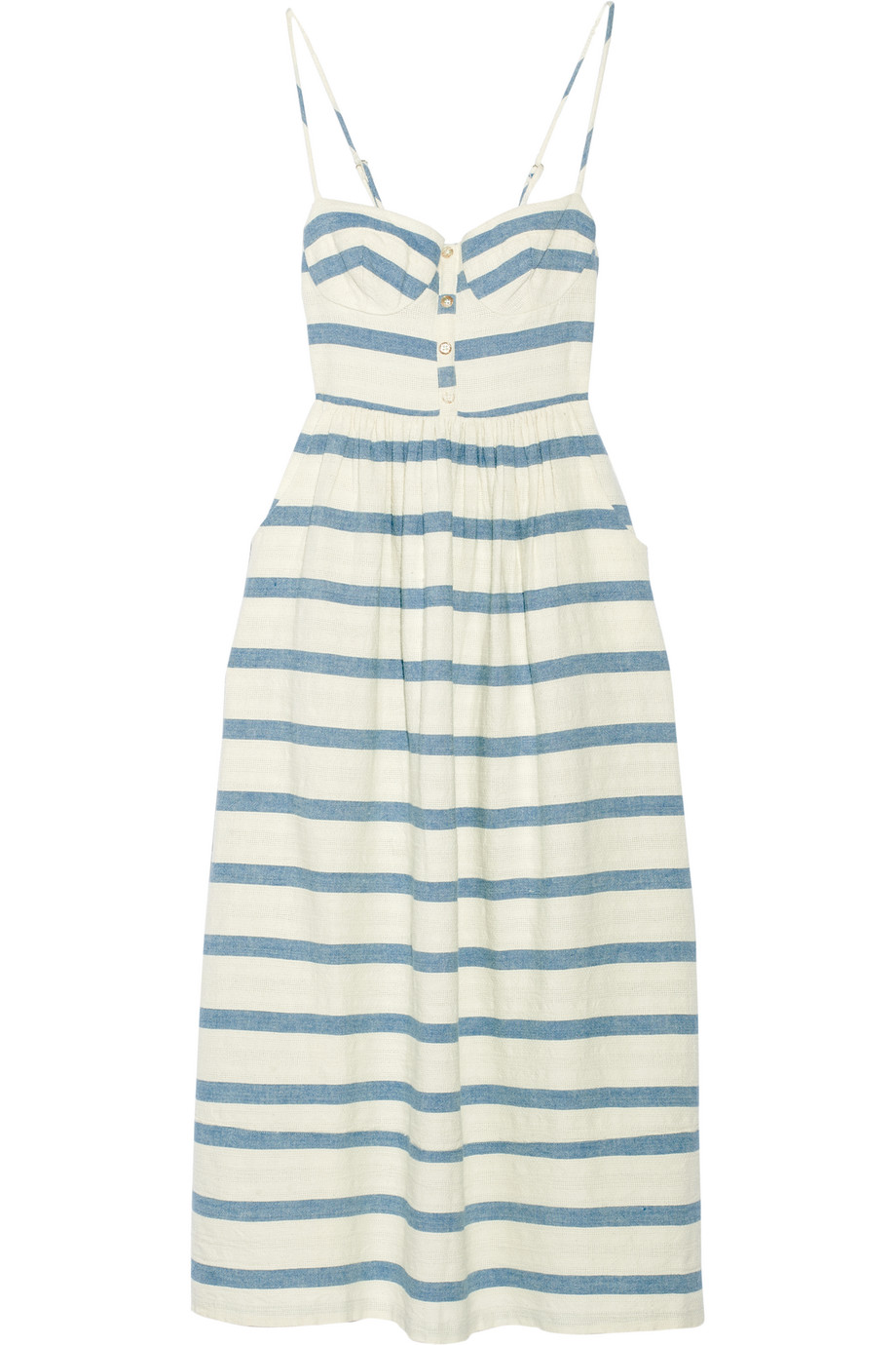 Mara Hoffman Striped Cotton Midi Dress, Off-White, Women's