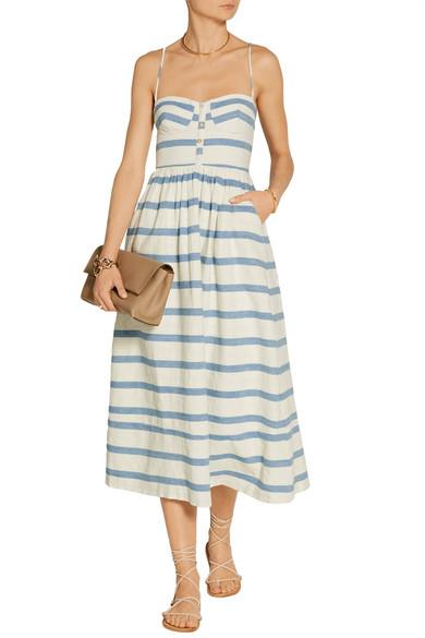 b2b8b78a78b Mara Hoffman. Striped cotton midi dress