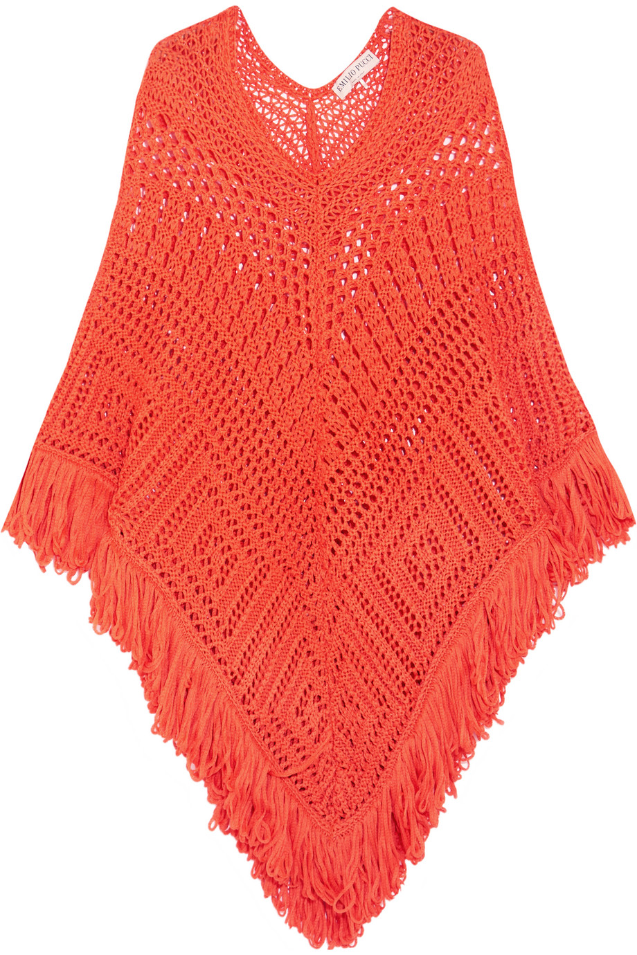 Emilio Pucci Crocheted Cotton Poncho, Bright Orange, Women's, Size: One size