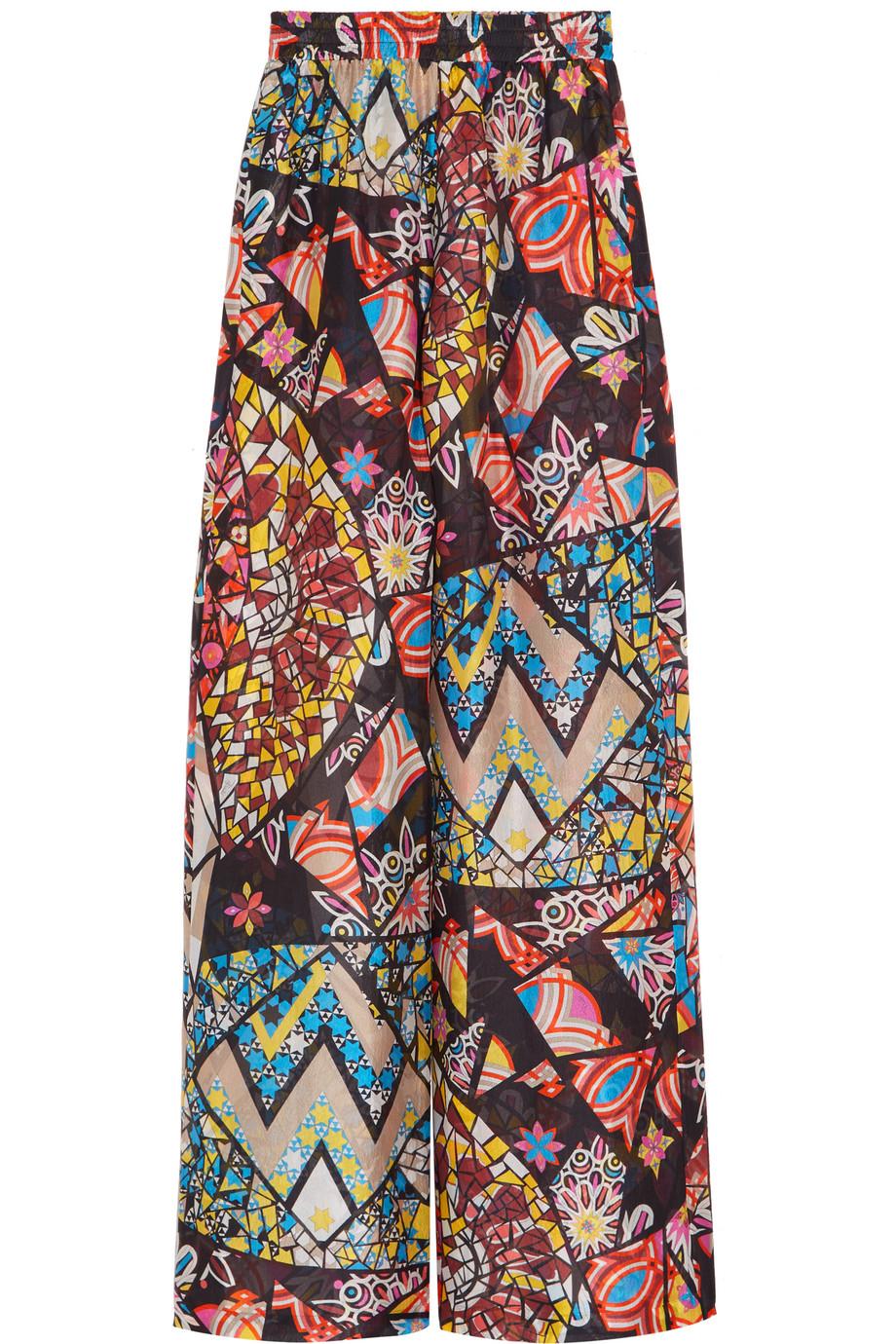 Emilio Pucci Printed Hammered-Silk Wide-Leg Pants, Fuchsia, Women's, Size: 38