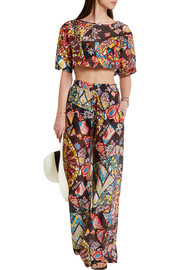 Printed hammered-silk wide-leg pants