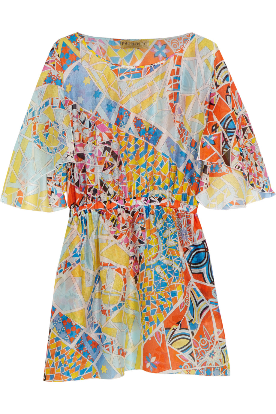 Emilio Pucci Printed Hammered-Silk Dress, Sky Blue/Red, Women's - Printed, Size: 40