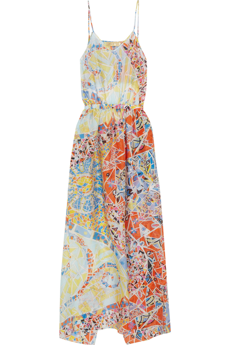 Emilio Pucci Printed Hammered-Silk Dress, Sky Blue, Women's - Printed, Size: 44
