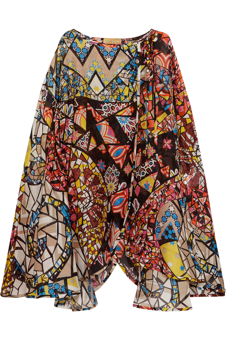 Emilio Pucci Printed Hammered-Silk Kaftan, Blue/Red, Women's - Printed, Size: 46