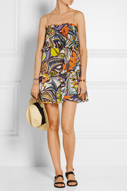 Ruffled printed cotton-voile mini dress