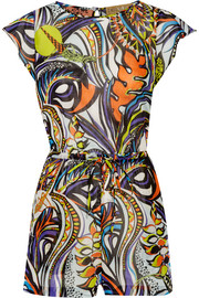 Printed cotton-voile playsuit