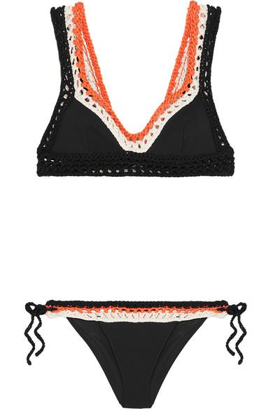 Emilio Pucci - Crocheted Cotton Triangle Bikini - Black