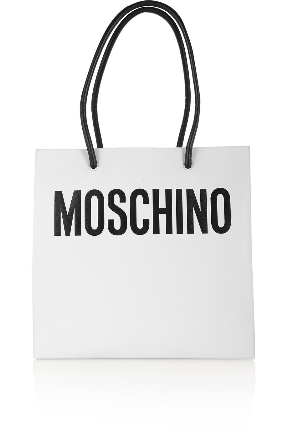 Moschino Printed Leather Tote, White, Women's
