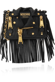 Moschino Jacket fringed leather shoulder bag