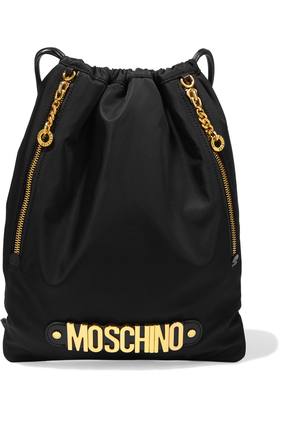 Moschino Embellished Leather-Trimmed Shell Backpack