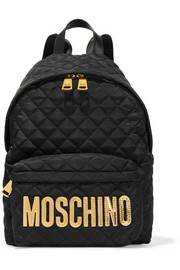 Moschino Faux leather-trimmed quilted shell backpack