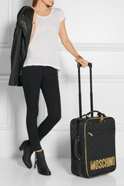 Moschino Leather-appliquéd quilted satin-shell travel trolley
