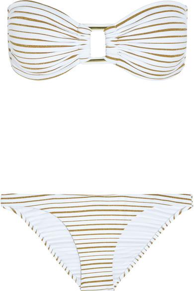 5c3357765621 Melissa Odabash | Angola metallic striped bandeau bikini | NET-A ...