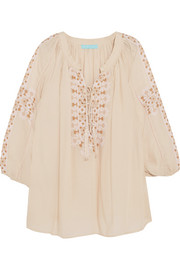 Avalon embroidered voile top
