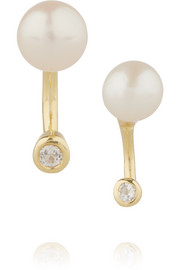 Gravitation gold-plated, pearl and topaz earrings