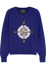 Compass embellished merino wool sweater